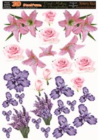 3d flowers Iris lilys and lavender makes several cards